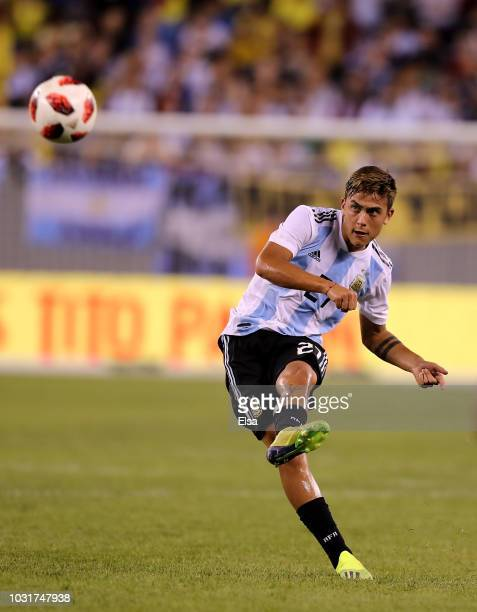 Paulo Dybala of Argentina passes the ball in the second half against Colombia at MetLife Stadium on September 11 2018 in East Rutherford New Jersey