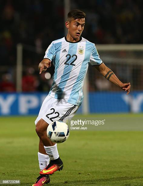 Paulo Dybala of Argentina plays the ball during a match between Argentina and Uruguay as part of FIFA 2018 World Cup Qualifiers at Malvinas...
