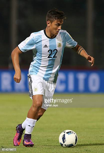 Paulo Dybala of Argentina plays the ball during a match between Argentina and Paraguay as part of FIFA 2018 World Cup Qualifiers at Mario Alberto...