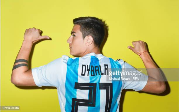 Paulo Dybala of Argentina poses during the official FIFA World Cup 2018 portrait session at on June 12 2018 in Moscow Russia