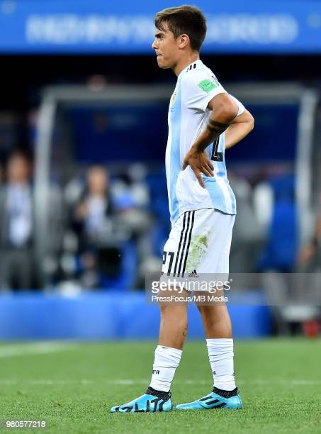 Paulo Dybala of Argentina reacts during the 2018 FIFA World Cup Russia group D match between Argentina and Croatia at Nizhny Novgorod Stadium on June...