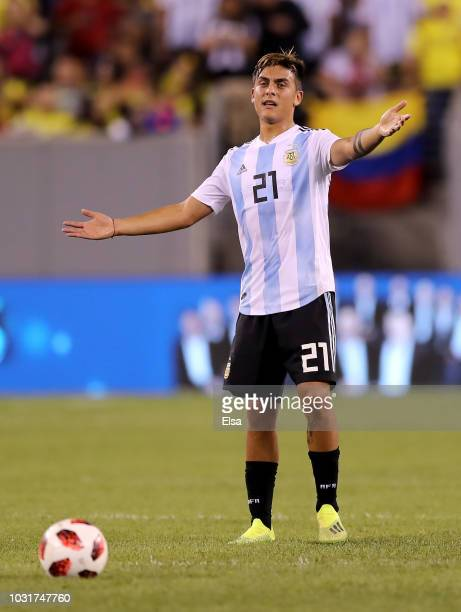 Paulo Dybala of Argentina reacts in the second half against Colombia at MetLife Stadium on September 11 2018 in East Rutherford New Jersey