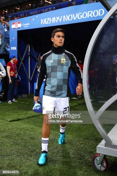 Paulo Dybala of Argentina walks out ahead of the 2018 FIFA World Cup Russia group D match between Argentina and Croatia at Nizhny Novgorod Stadium on...