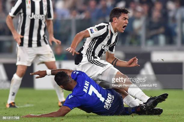 Paulo Dybala of Juventus and Nani of Lazio compete for the ball during the Serie A match between Juventus and SS Lazio on October 14 2017 in Turin...