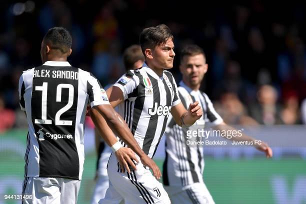 Paulo Dybala of Juventus celebrates 01 goal during the serie A match between Benevento Calcio and Juventus at Stadio Ciro Vigorito on April 7 2018 in...