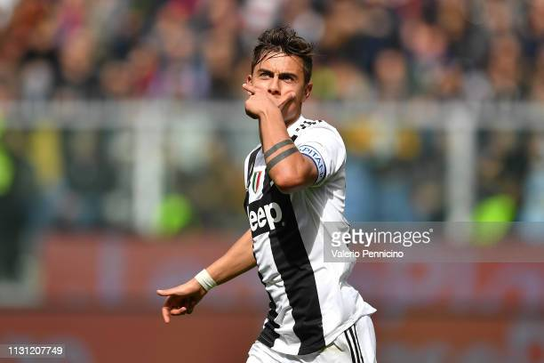 Paulo Dybala of Juventus celebrates a goal canceled during the Serie A match between Genoa CFC and Juventus at Stadio Luigi Ferraris on March 17 2019...
