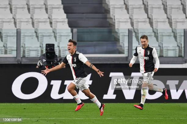 Paulo Dybala of Juventus celebrates a goal during the Serie A match between Juventus and FC Internazionale at Allianz Stadium on March 8, 2020 in...