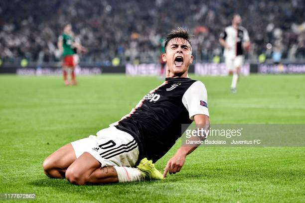 Paulo Dybala of Juventus celebrates after his second goal during the UEFA Champions League group D match between Juventus and Lokomotiv Moskva at...