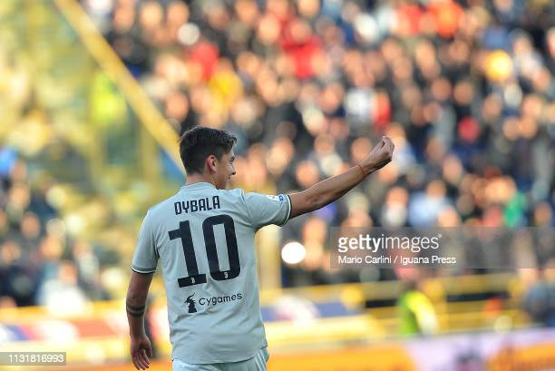 Paulo Dybala of Juventus celebrates after scoring a goal during the Serie A match between Bologna FC and Juventus at Stadio Renato Dall'Ara on...