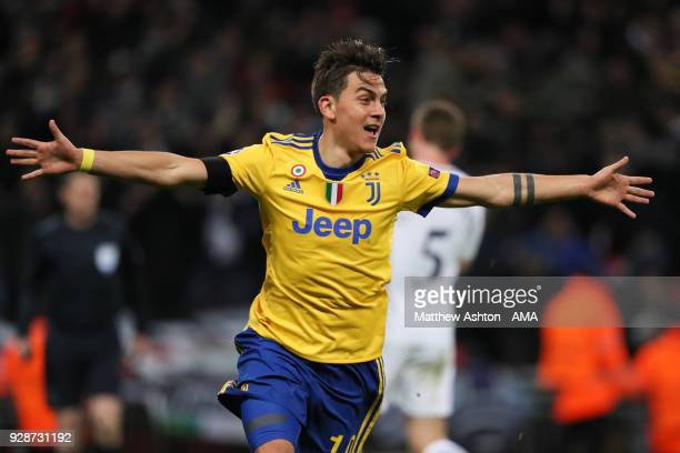 Paulo Dybala of Juventus celebrates after scoring a goal to make it 12 during the UEFA Champions League Round of 16 Second Leg match between...