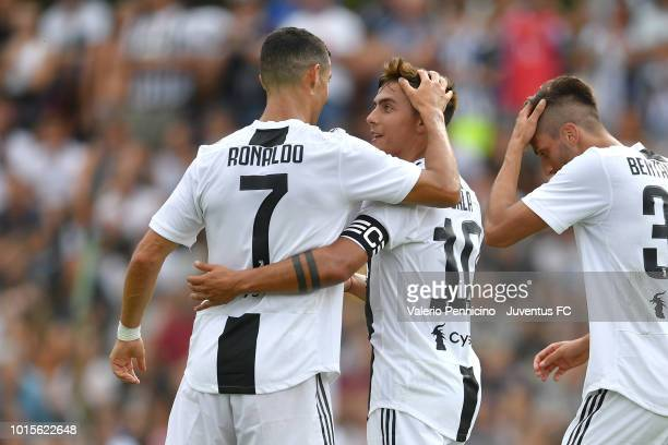 Paulo Dybala of Juventus celebrates after scoring a goal with team mate Cristiano Ronaldo during the PreSeason Friendly match between Juventus and...