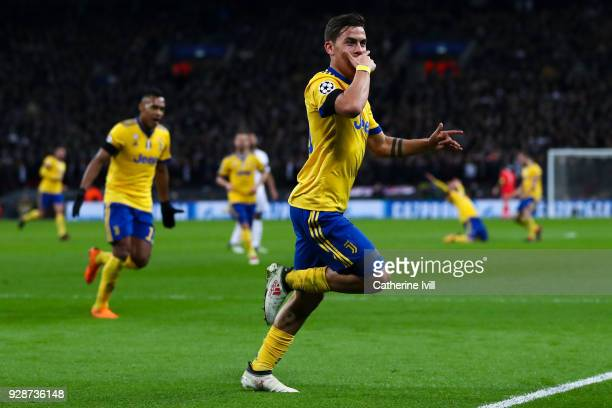 Paulo Dybala of Juventus celebrates after scoring his team's second goal during the UEFA Champions League Round of 16 Second Leg match between...