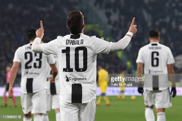 Paulo Dybala of Juventus celebrates after scoring the opening goal during the Serie A match between Juventus and Frosinone Calcio on February 15 2019...