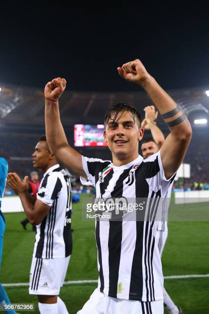 Paulo Dybala of Juventus celebrates after the award ceremony at Olimpico Stadium in Rome Italy on May 9 2017 during the TIM Cup Final between...
