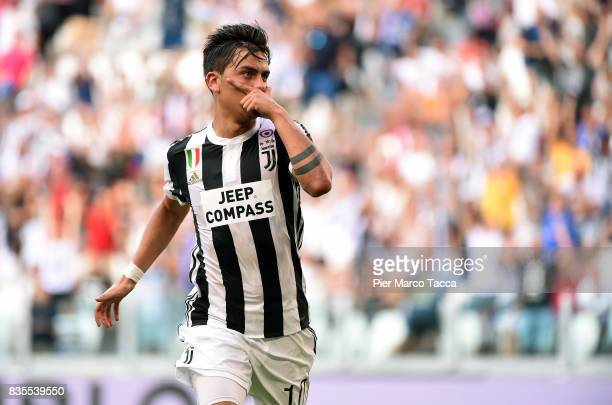 Paulo Dybala of Juventus celebrates his first goal during the Serie A match between Juventus and Cagliari Calcio at Allianz Stadium on August 19 2017...