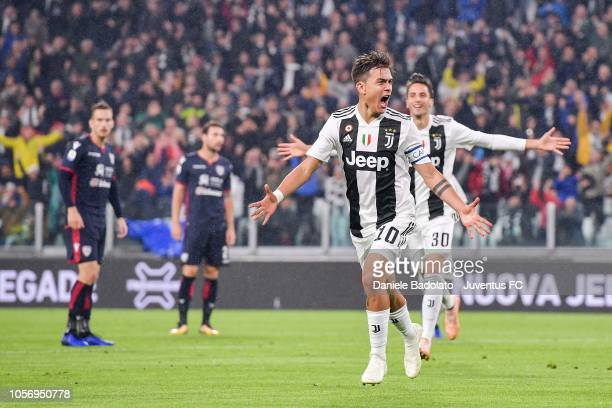 Paulo Dybala of Juventus celebrates his goal of 10 during the Serie A match between Juventus and Cagliari on November 3 2018 in Turin Italy