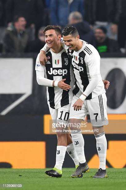 Paulo Dybala of Juventus celebrates his opening goal with teammate Cristiano Ronaldo during the Serie A match between Juventus and Frosinone Calcio...