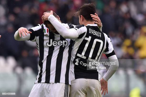 Paulo Dybala of Juventus celebrates with Gonzalo Higuain after scoring his team's second goal during the serie A match between Juventus and Udinese...