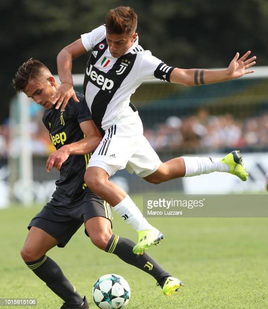 Paulo Dybala of Juventus competes for the ball during the PreSeason Friendly match between Juventus and Juventus U19 on August 12 2018 in Villar...