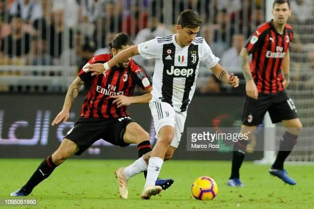 Paulo Dybala of Juventus controls the ball during the Italian Supercup match between Juventus and AC Milan at King Abdullah Sports City on January 16...