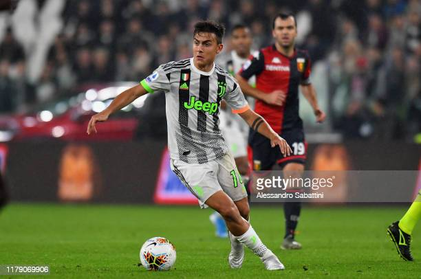 Paulo Dybala of Juventus controls the ball during the Serie A match between Juventus and Genoa CFC at on October 30 2019 in Turin Italy