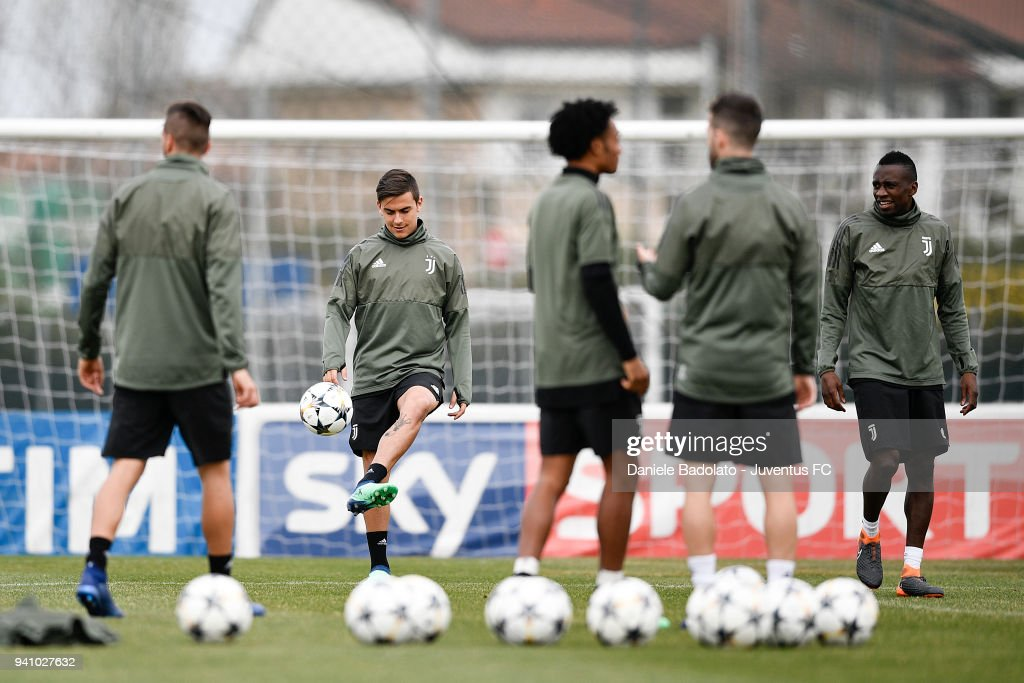 Paulo Dybala of Juventus during a training session on the eve of the Champions League match against Real Madrid at Juventus Center Vinovo on April 2, 2018 in Vinovo, Italy.