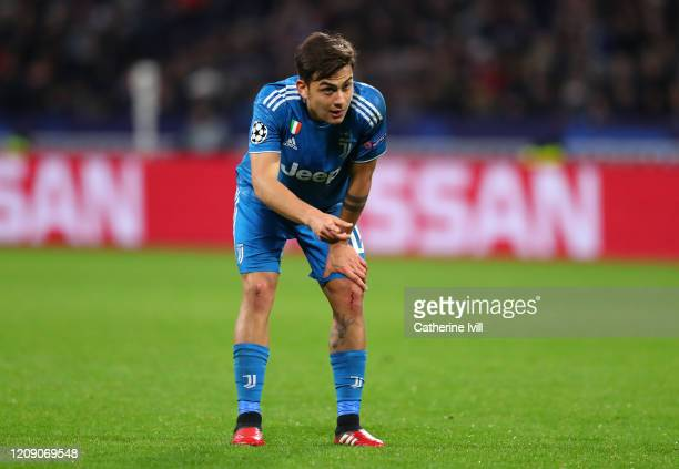 Paulo Dybala of Juventus during the UEFA Champions League round of 16 first leg match between Olympique Lyon and Juventus at Parc Olympique on...