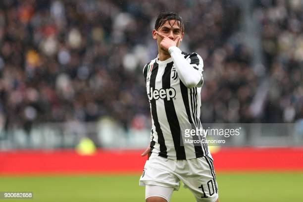 Paulo Dybala of Juventus FC celebrate after scoring a goal during the Serie A football match between Juventus FC and Udinese Calcio Juventus Fc wins...