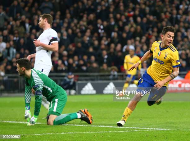 Paulo Dybala of Juventus FC celebrate the wining goal during UEFA Champions League Round of 16 2nd Leg match Tottenham Hotspur against Juventus at...