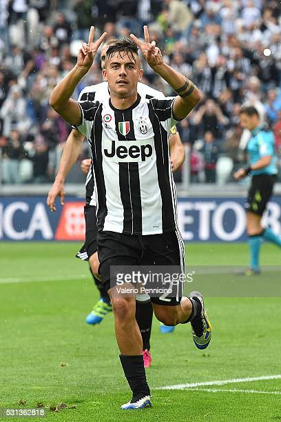 Paulo Dybala of Juventus FC celebrates after scoring his goal from the penalty spot during the Serie A match between Juventus FC and UC Sampdoria at...