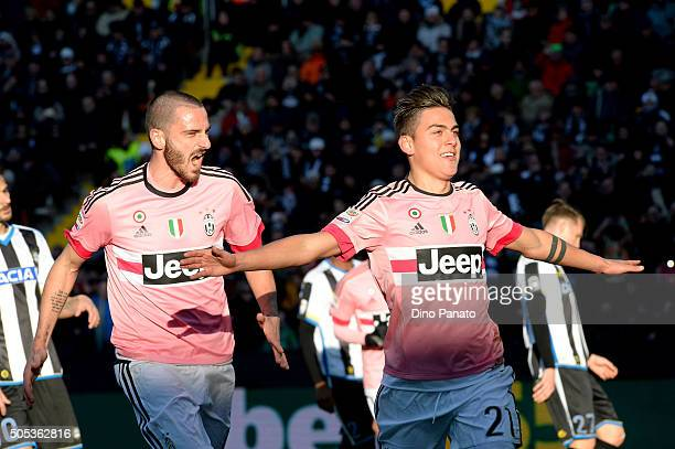 Paulo Dybala of Juventus FC celebrates after scoring his team's third goal from the penalty spot during the Serie A match between Udinese Calcio and...