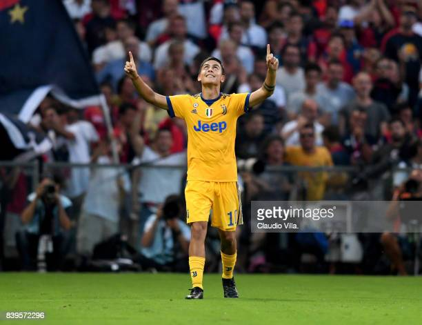 Paulo Dybala of Juventus FC celebrates after scoring the fourth goal during the Serie A match between Genoa CFC and Juventus at Stadio Luigi Ferraris...