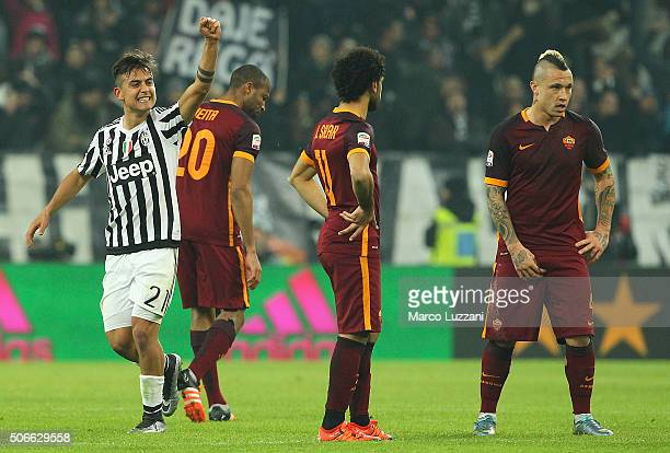 Paulo Dybala of Juventus FC celebrates after scoring the opening goal during the Serie A match between Juventus FC and AS Roma at Juventus Arena on...