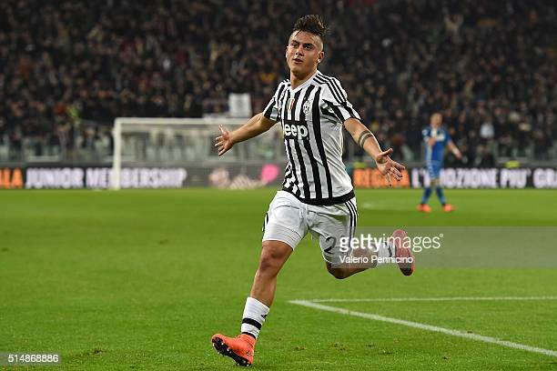 Paulo Dybala of Juventus FC celebrates after scoring the opening goal during the Serie A match between Juventus FC and US Sassuolo Calcio at Juventus...