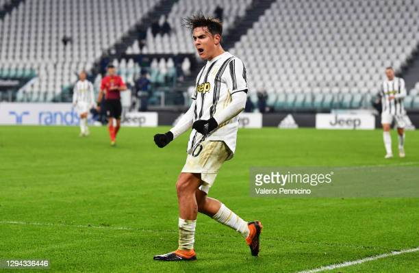 Paulo Dybala of Juventus F.C. Celebrates after scoring their team's fourth goal during the Serie A match between Juventus and Udinese Calcio at...