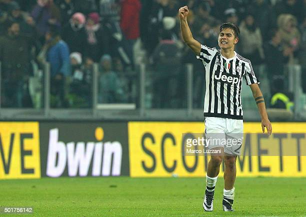Paulo Dybala of Juventus FC celebrates his goal during the Serie A match betweeen Juventus FC and ACF Fiorentina at Juventus Arena on December 13...