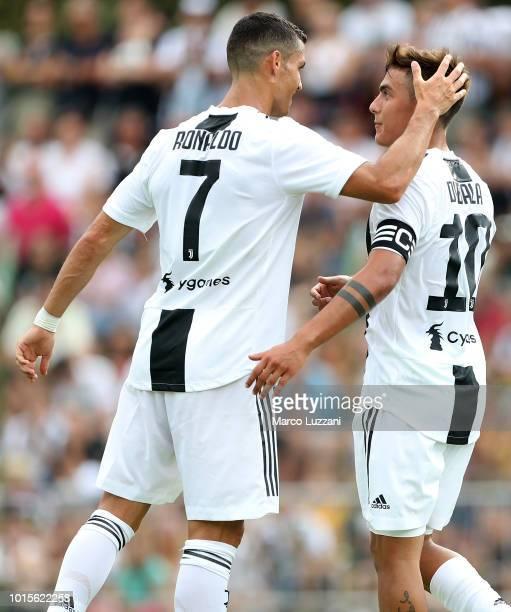 Paulo Dybala of Juventus FC celebrates his goal with his teammate Cristiano Ronaldo during the PreSeason Friendly match between Juventus and Juventus...