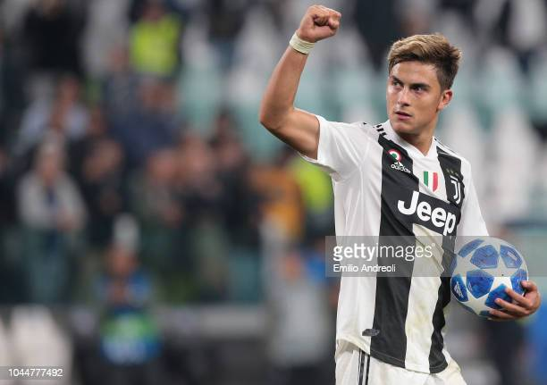 Paulo Dybala of Juventus FC celebrates the victory at the end of the Group H match of the UEFA Champions League between Juventus and BSC Young Boys...