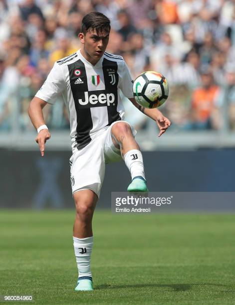 Paulo Dybala of Juventus FC controls the ball during the serie A match between Juventus and Hellas Verona FC at Allianz Stadium on May 19 2018 in...