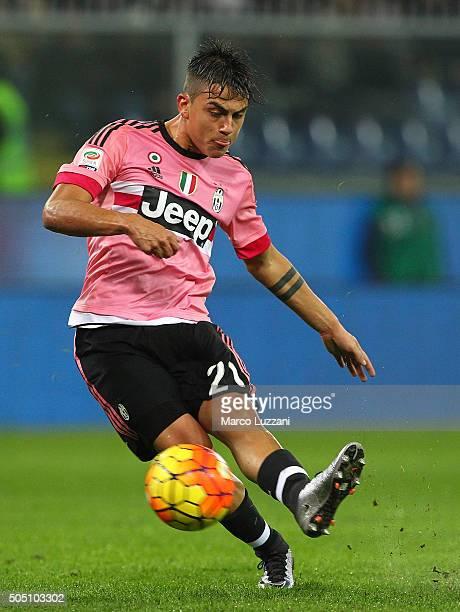 Paulo Dybala of Juventus FC kicks a ball during the Serie A match between UC Sampdoria and Juventus FC at Stadio Luigi Ferraris on January 10 2016 in...