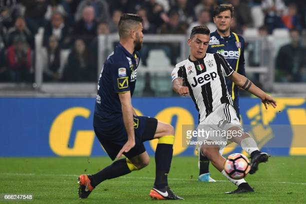 Paulo Dybala of Juventus FC kicks the ball during the Serie A match between Juventus FC and AC ChievoVerona at Juventus Stadium on April 8 2017 in...