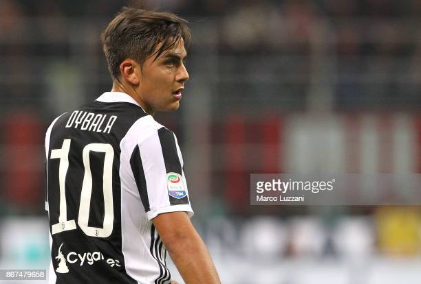 Paulo Dybala of Juventus FC looks on during the Serie A match between AC Milan and Juventus at Stadio Giuseppe Meazza on October 28 2017 in Milan...