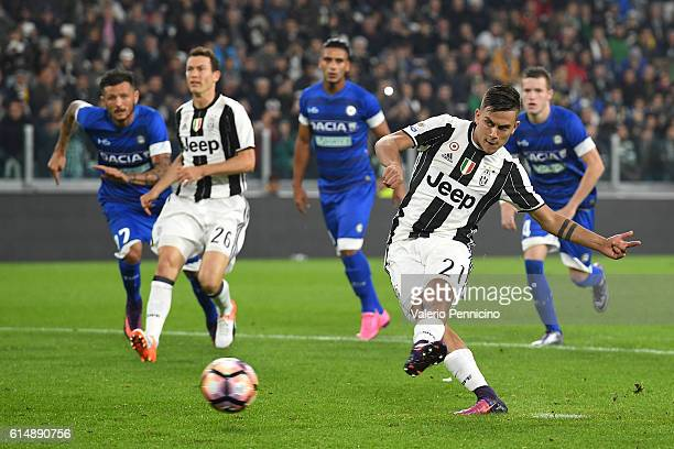 Paulo Dybala of Juventus FC scores a goal from the penalty spot during the Serie A match between Juventus FC and Udinese Calcio at Juventus Stadium...
