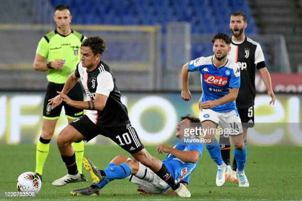 Paulo Dybala of Juventus fouls of SSC Napoli Diego Demme of SSC Napoli during the Coppa Italia Final match between Juventus and SSC Napoli at...