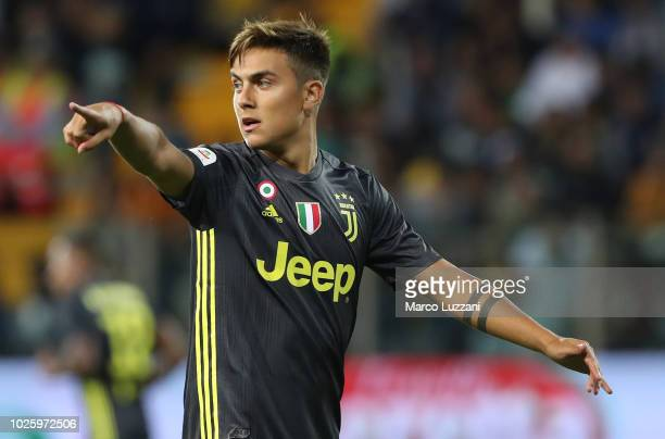 Paulo Dybala of Juventus gestures during the serie A match between Parma Calcio and Juventus at Stadio Ennio Tardini on September 1 2018 in Parma...