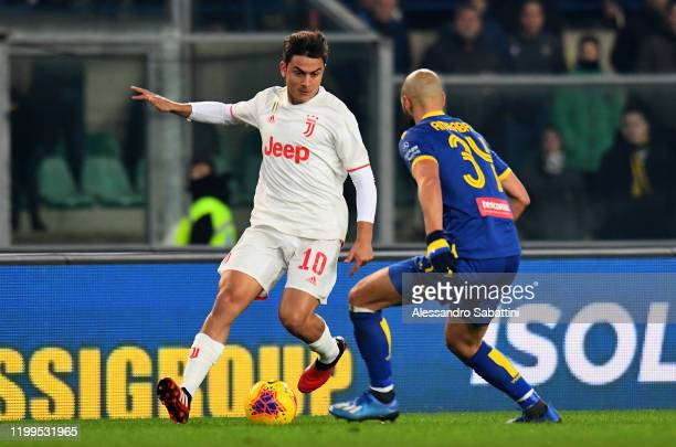 Paulo Dybala of Juventus in action during the Serie A match between Hellas Verona and Juventus at Stadio Marcantonio Bentegodi on February 8 2020 in...