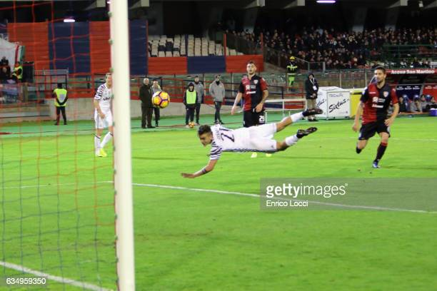 Paulo Dybala of Juventus in action during the Serie A match between Cagliari Calcio and Juventus FC at Stadio Sant'Elia on February 12 2017 in...