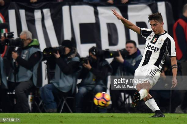 Paulo Dybala of Juventus in action during the Serie A match between Juventus FC and US Citta di Palermo at Juventus Stadium on February 17 2017 in...