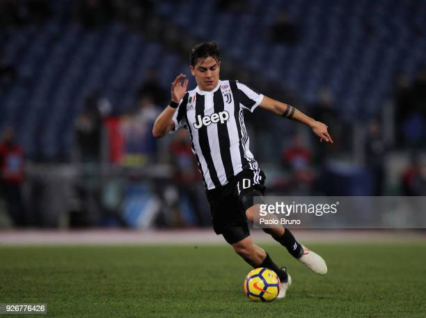 Paulo Dybala of Juventus in action during the serie A match between SS Lazio and Juventus at Stadio Olimpico on March 3 2018 in Rome Italy