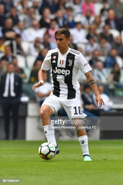 Paulo Dybala of Juventus in action during the Serie A match between Juventus and Hellas Verona FC at Allianz Stadium on May 19 2018 in Turin Italy